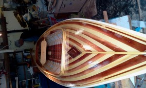 beautiful cedar strip deck on skin-on-frame boat